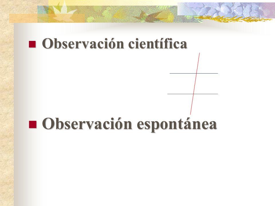 Observación científica Observación científica Observación espontánea Observación espontánea