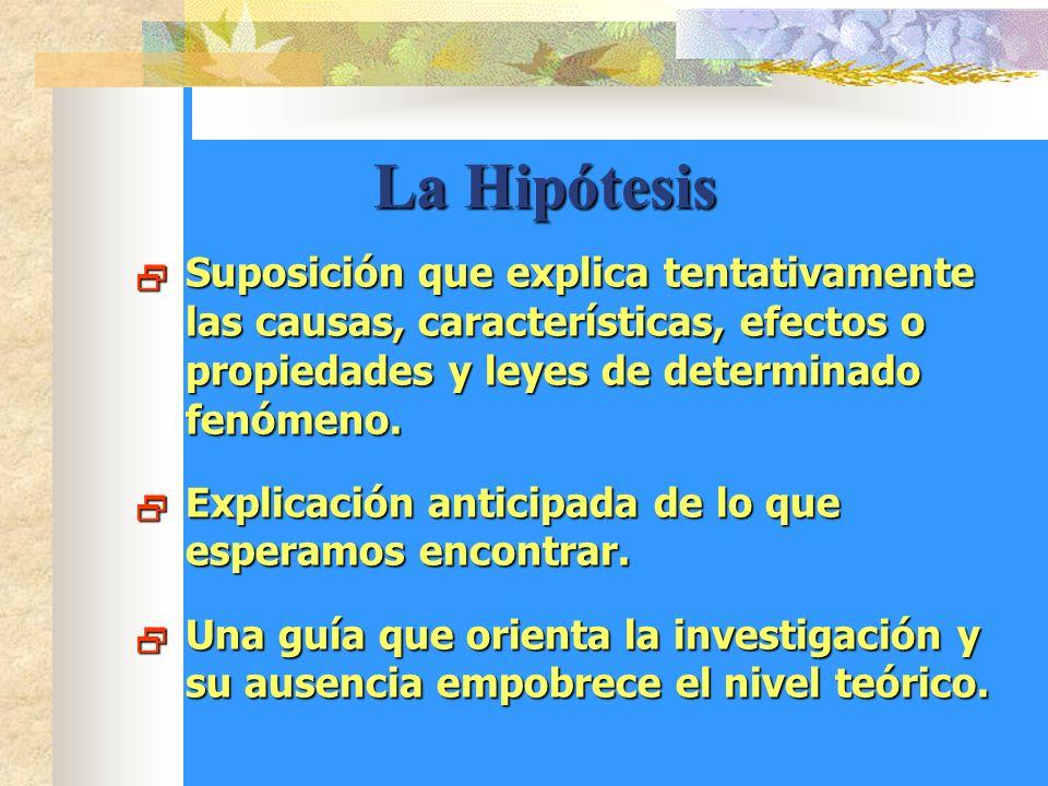La Hipótesis La Hipótesis Suposición que explica tentativamente las causas, características, efectos o propiedades y leyes de determinado fenómeno.