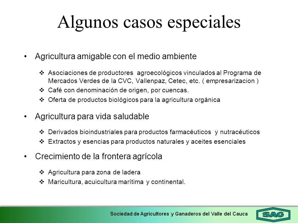 Algunos casos especiales Agricultura amigable con el medio ambiente Asociaciones de productores agroecológicos vinculados al Programa de Mercados Verd