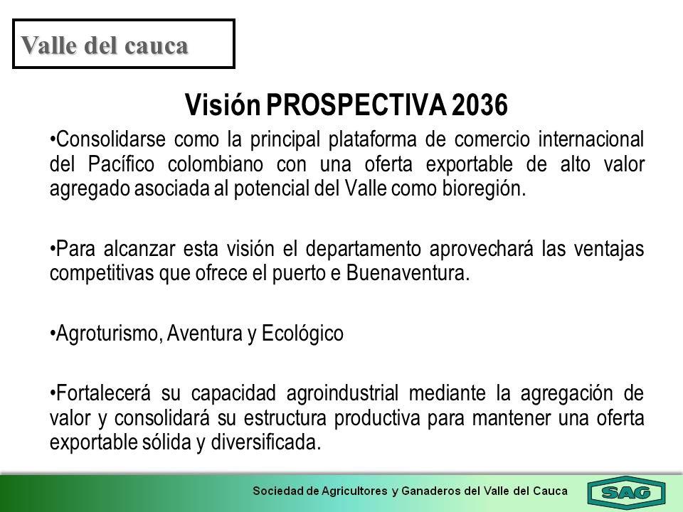 Visión PROSPECTIVA 2036 Consolidarse como la principal plataforma de comercio internacional del Pacífico colombiano con una oferta exportable de alto