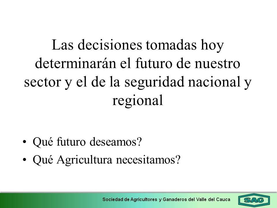 Las decisiones tomadas hoy determinarán el futuro de nuestro sector y el de la seguridad nacional y regional Qué futuro deseamos? Qué Agricultura nece