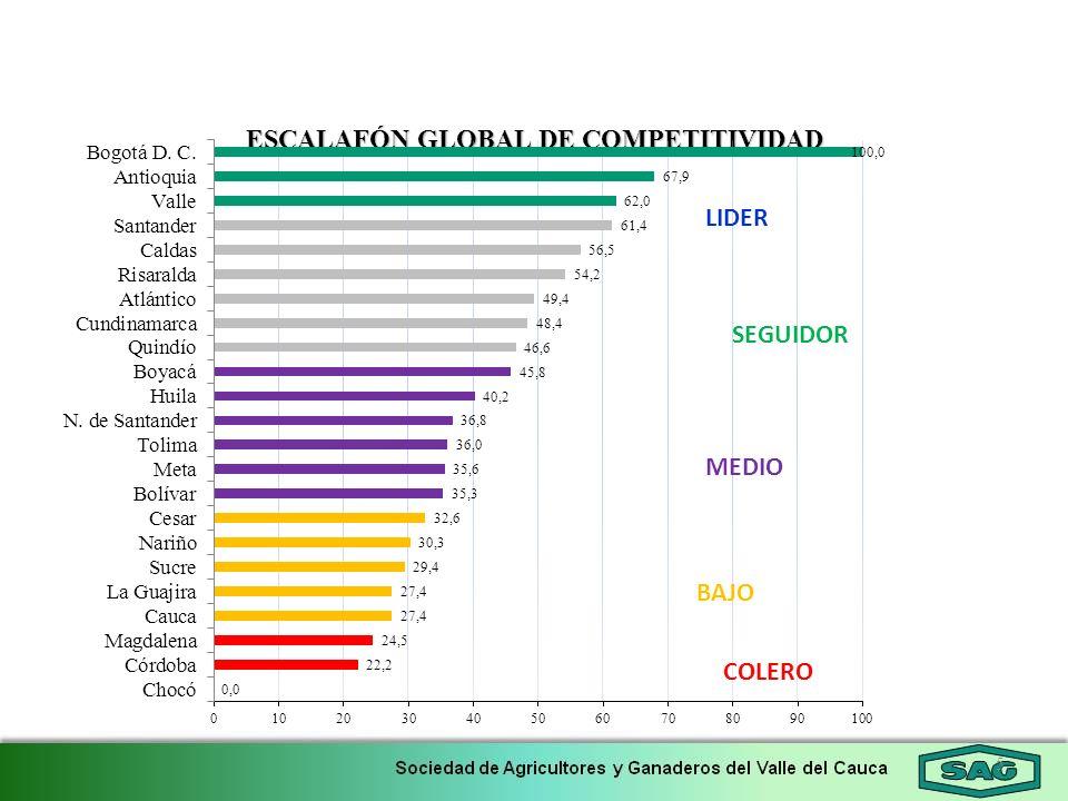 5 ESCALAFÓN GLOBAL DE COMPETITIVIDAD LIDER SEGUIDOR MEDIO BAJO COLERO