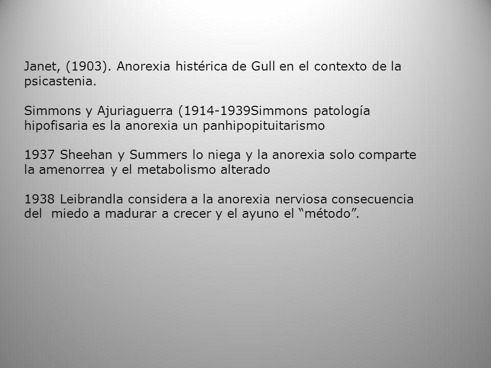 Janet, (1903). Anorexia histérica de Gull en el contexto de la psicastenia. Simmons y Ajuriaguerra (1914-1939Simmons patología hipofisaria es la anore
