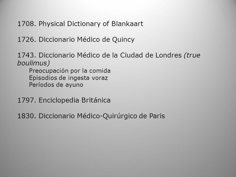 1708. Physical Dictionary of Blankaart 1726. Diccionario Médico de Quincy 1743. Diccionario Médico de la Ciudad de Londres (true boulimus) Preocupació