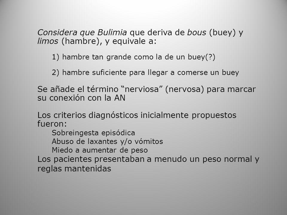 Considera que Bulimia que deriva de bous (buey) y limos (hambre), y equivale a: 1) hambre tan grande como la de un buey(?) 2) hambre suficiente para l