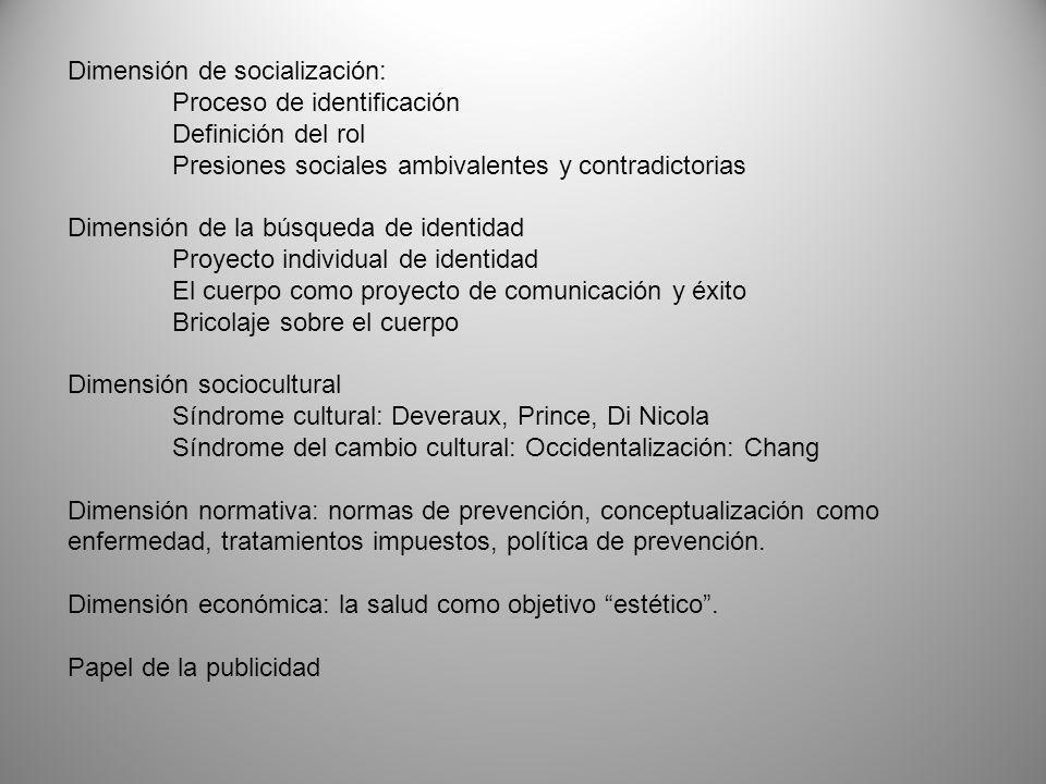 Dimensión de socialización: Proceso de identificación Definición del rol Presiones sociales ambivalentes y contradictorias Dimensión de la búsqueda de