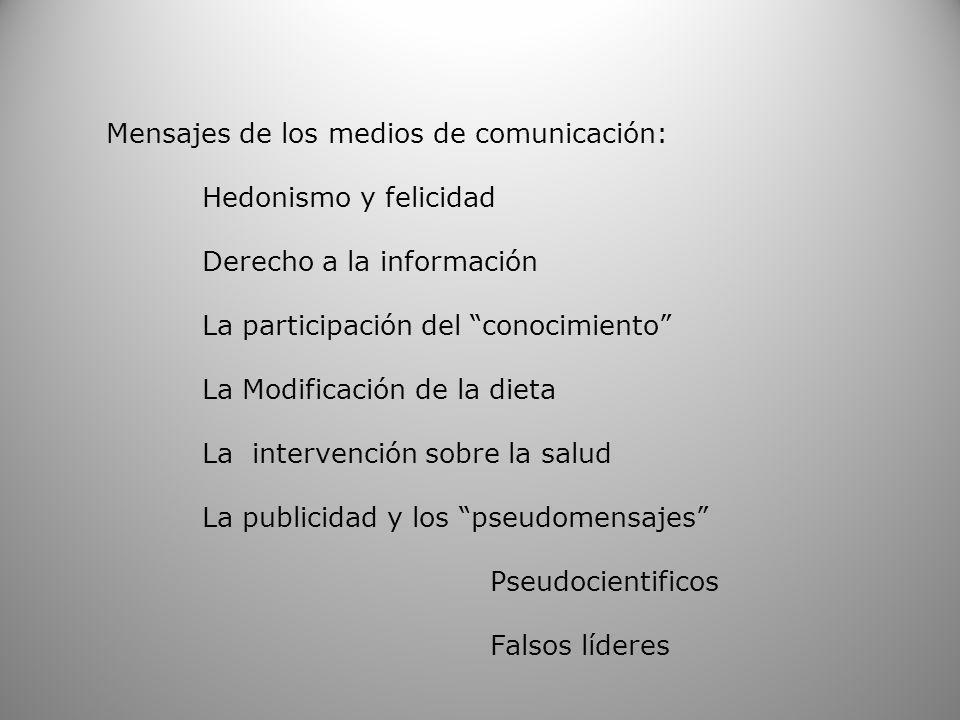 Mensajes de los medios de comunicación: Hedonismo y felicidad Derecho a la información La participación del conocimiento La Modificación de la dieta L