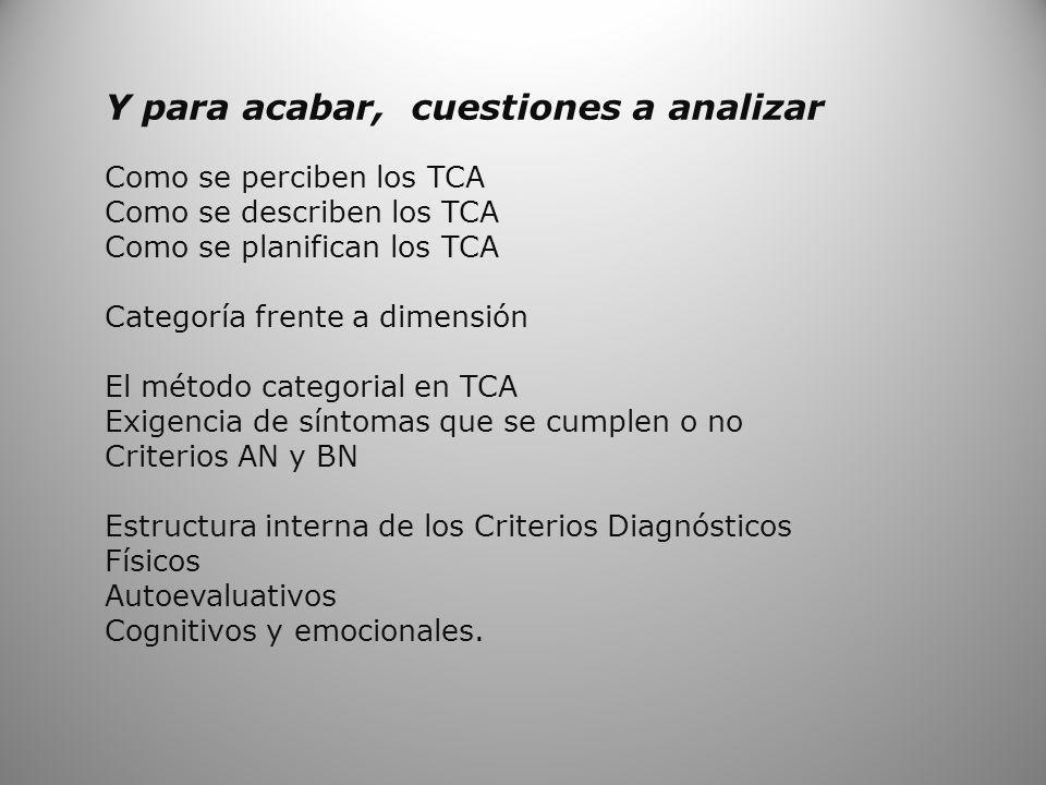 Y para acabar, cuestiones a analizar Como se perciben los TCA Como se describen los TCA Como se planifican los TCA Categoría frente a dimensión El mét