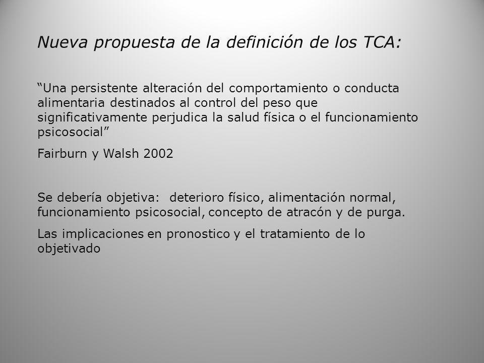 Nueva propuesta de la definición de los TCA: Una persistente alteración del comportamiento o conducta alimentaria destinados al control del peso que s