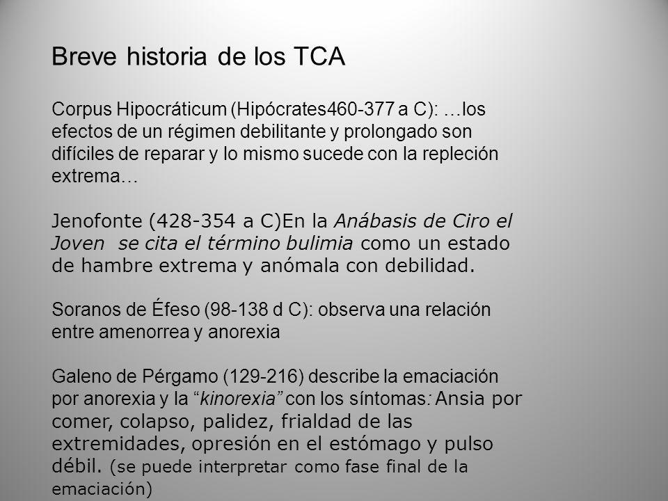 Breve historia de los TCA Corpus Hipocráticum (Hipócrates460-377 a C): …los efectos de un régimen debilitante y prolongado son difíciles de reparar y