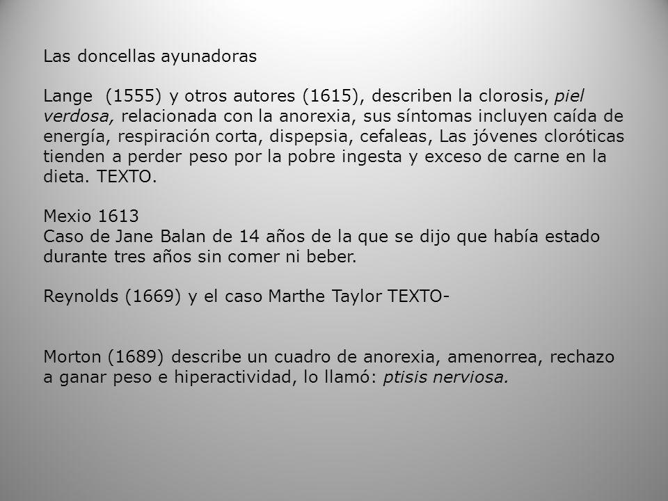 Las doncellas ayunadoras Lange (1555) y otros autores (1615), describen la clorosis, piel verdosa, relacionada con la anorexia, sus síntomas incluyen