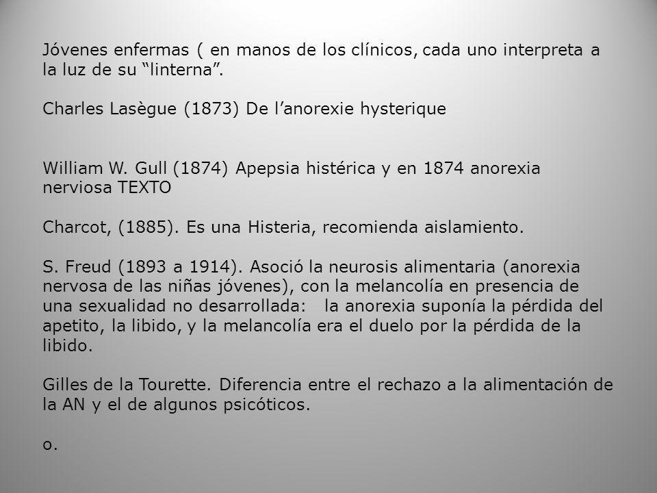 Janet, (1903).Anorexia histérica de Gull en el contexto de la psicastenia.