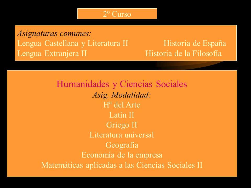 2º Curso Asignaturas comunes: Lengua Castellana y Literatura II Historia de España Lengua Extranjera II Historia de la Filosofía Humanidades y Ciencia