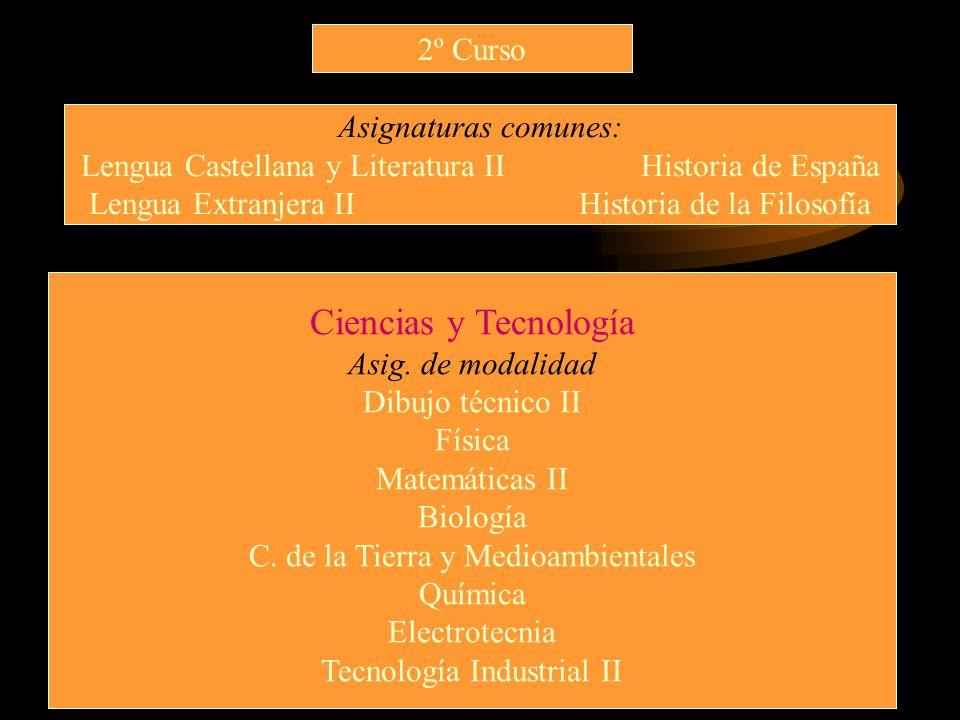 2º Curso Asignaturas comunes: Lengua Castellana y Literatura II Historia de España Lengua Extranjera II Historia de la Filosofía Ciencias y Tecnología