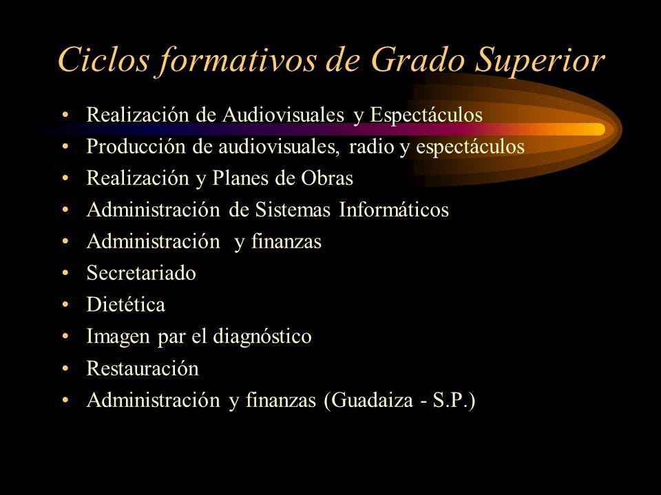 Ciclos formativos de Grado Superior Realización de Audiovisuales y Espectáculos Producción de audiovisuales, radio y espectáculos Realización y Planes