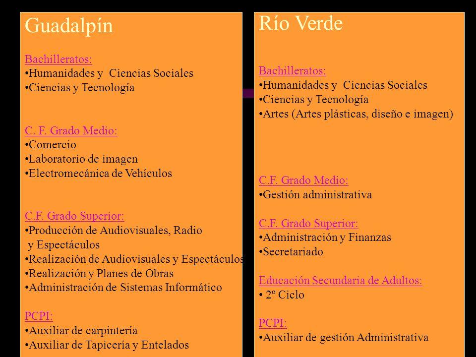 Guadalpín Bachilleratos: Humanidades y Ciencias Sociales Ciencias y Tecnología C. F. Grado Medio: Comercio Laboratorio de imagen Electromecánica de Ve