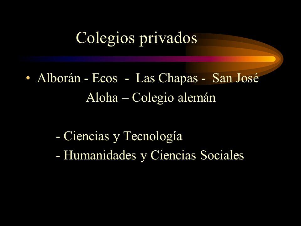 Alborán - Ecos - Las Chapas - San José Aloha – Colegio alemán - Ciencias y Tecnología - Humanidades y Ciencias Sociales Colegios privados