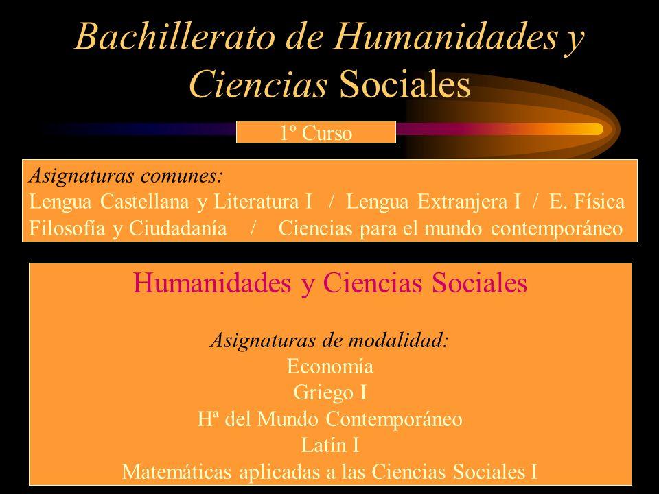Bachillerato de Humanidades y Ciencias Sociales 1º Curso Humanidades y Ciencias Sociales Asignaturas de modalidad: Economía Griego I Hª del Mundo Cont