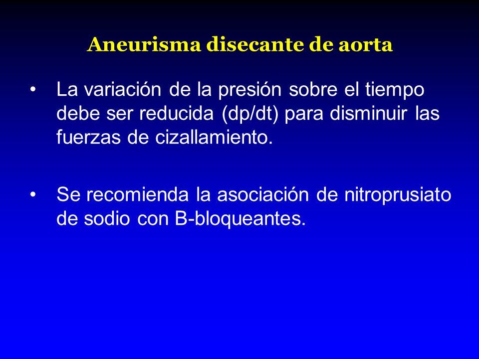 Aneurisma disecante de aorta La variación de la presión sobre el tiempo debe ser reducida (dp/dt) para disminuir las fuerzas de cizallamiento. Se reco