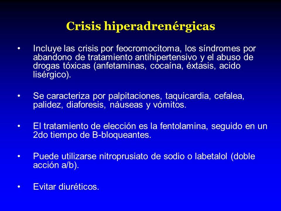 Crisis hiperadrenérgicas Incluye las crisis por feocromocitoma, los síndromes por abandono de tratamiento antihipertensivo y el abuso de drogas tóxica