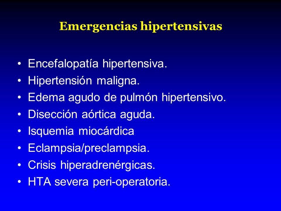 Emergencias hipertensivas Encefalopatía hipertensiva. Hipertensión maligna. Edema agudo de pulmón hipertensivo. Disección aórtica aguda. Isquemia mioc