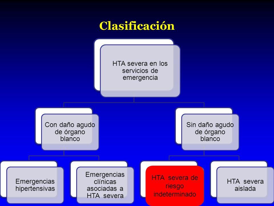 Definción Probabilidad de evolución hacia HTA severa con daño de órgano blanco.