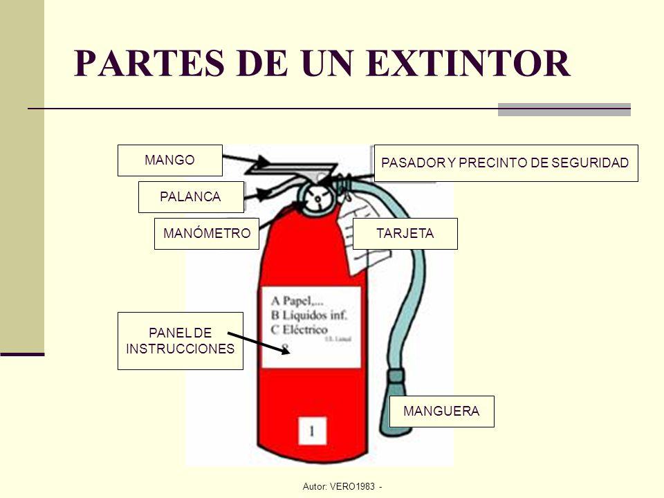 Autor: VERO1983 - PARTES DE UN EXTINTOR PALANCA PASADOR Y PRECINTO DE SEGURIDAD MANÓMETROTARJETA MANGUERA MANGO PANEL DE INSTRUCCIONES
