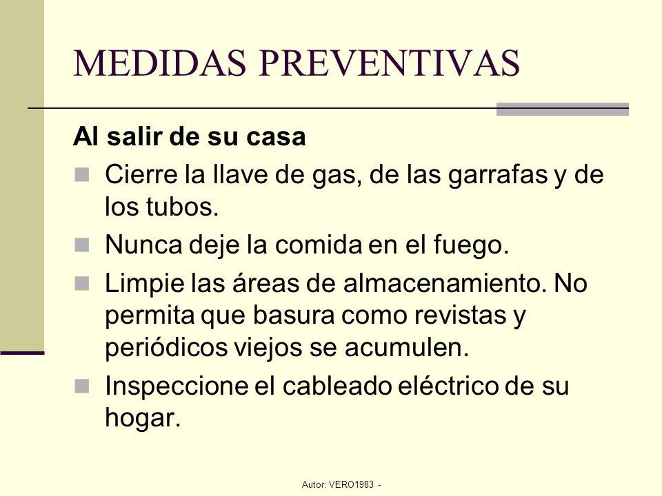 Autor: VERO1983 - MEDIDAS PREVENTIVAS Al salir de su casa Cierre la llave de gas, de las garrafas y de los tubos. Nunca deje la comida en el fuego. Li
