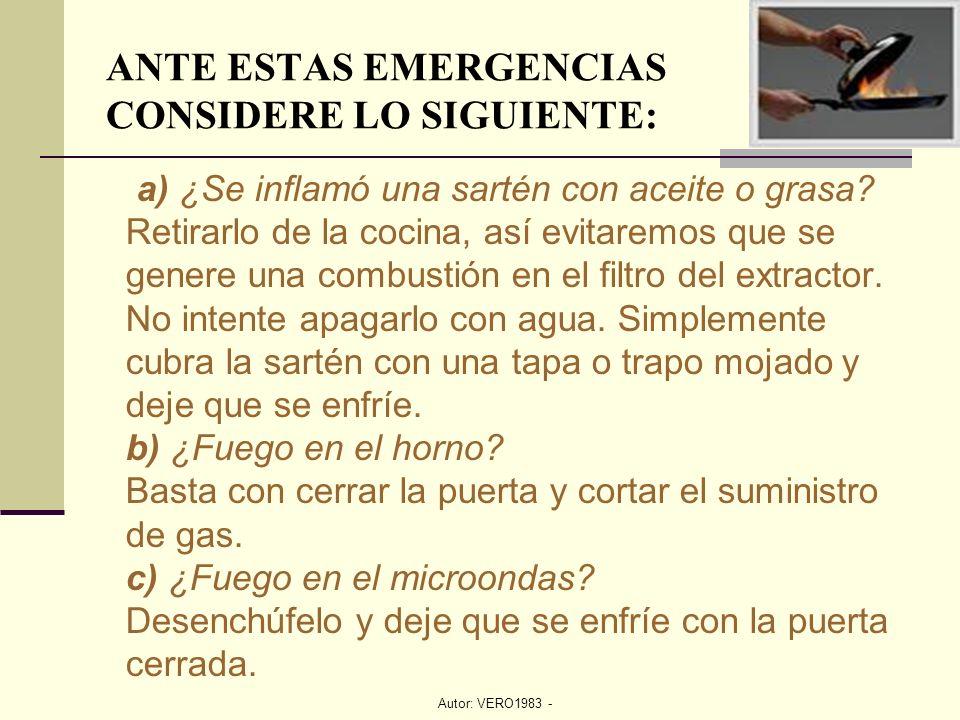 Autor: VERO1983 - ANTE ESTAS EMERGENCIAS CONSIDERE LO SIGUIENTE: a) ¿Se inflamó una sartén con aceite o grasa? Retirarlo de la cocina, así evitaremos
