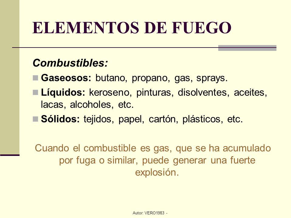 Autor: VERO1983 - ELEMENTOS DE FUEGO Combustibles: Gaseosos: butano, propano, gas, sprays. Líquidos: keroseno, pinturas, disolventes, aceites, lacas,
