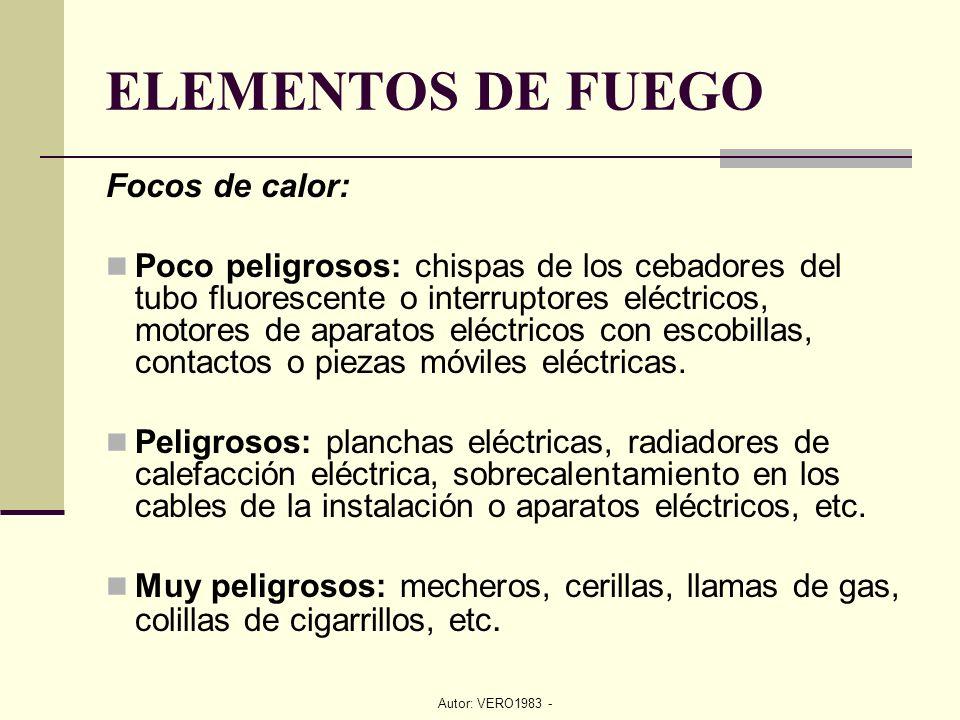 Autor: VERO1983 - Focos de calor: Poco peligrosos: chispas de los cebadores del tubo fluorescente o interruptores eléctricos, motores de aparatos eléc