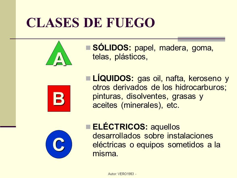 Autor: VERO1983 - CLASES DE FUEGO SÓLIDOS: papel, madera, goma, telas, plásticos, LÍQUIDOS: gas oil, nafta, keroseno y otros derivados de los hidrocar