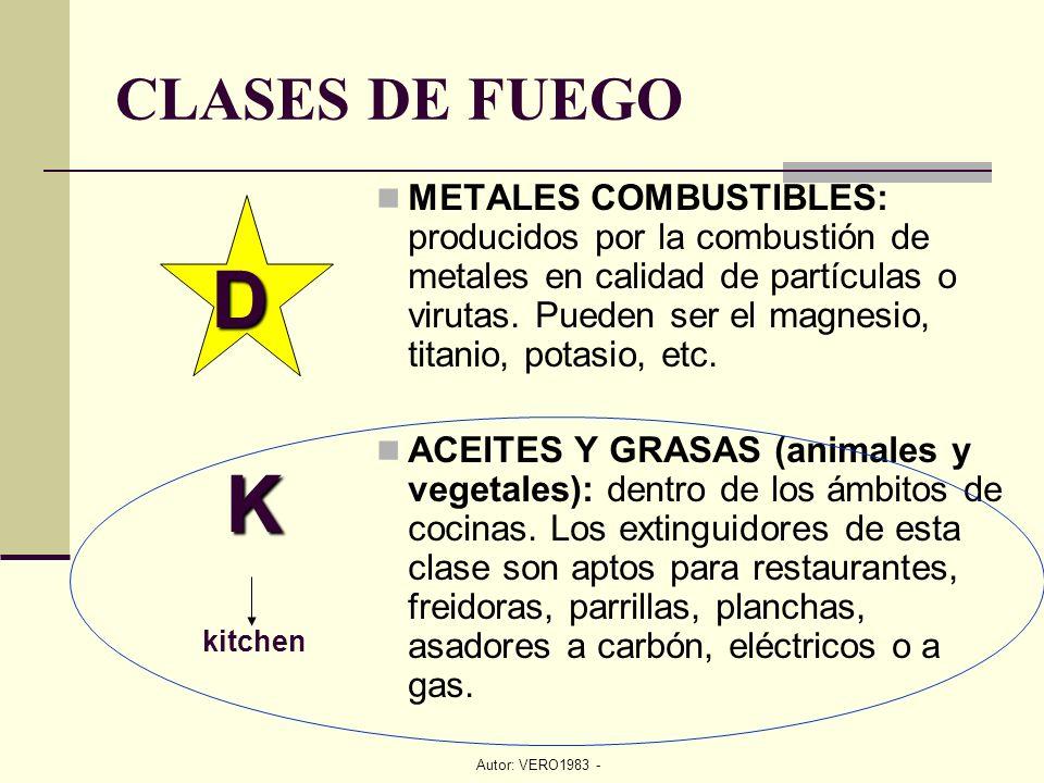 Autor: VERO1983 - CLASES DE FUEGO METALES COMBUSTIBLES: producidos por la combustión de metales en calidad de partículas o virutas. Pueden ser el magn