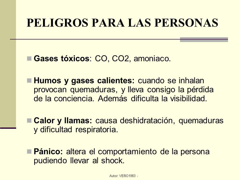 Autor: VERO1983 - PELIGROS PARA LAS PERSONAS Gases tóxicos: CO, CO2, amoniaco. Humos y gases calientes: cuando se inhalan provocan quemaduras, y lleva