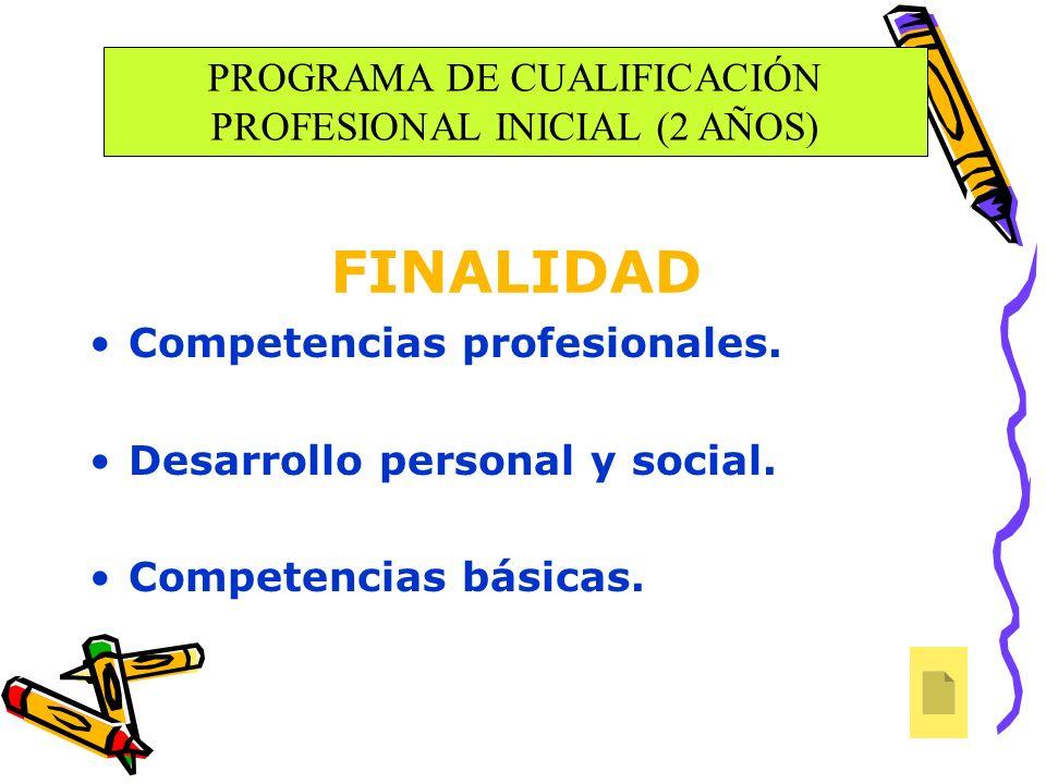 Competencias profesionales. Desarrollo personal y social. Competencias básicas. FINALIDAD PROGRAMA DE CUALIFICACIÓN PROFESIONAL INICIAL (2 AÑOS)