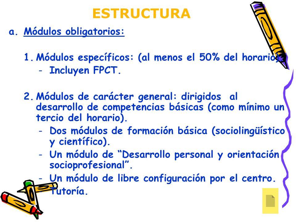 ESTRUCTURA a.Módulos obligatorios: 1.Módulos específicos: (al menos el 50% del horario). -Incluyen FPCT. 2.Módulos de carácter general: dirigidos al d