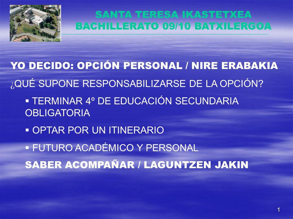 1 SANTA TERESA IKASTETXEA BACHILLERATO 09/10 BATXILERGOA YO DECIDO: OPCIÓN PERSONAL / NIRE ERABAKIA ¿ QUÉ SUPONE RESPONSABILIZARSE DE LA OPCIÓN.