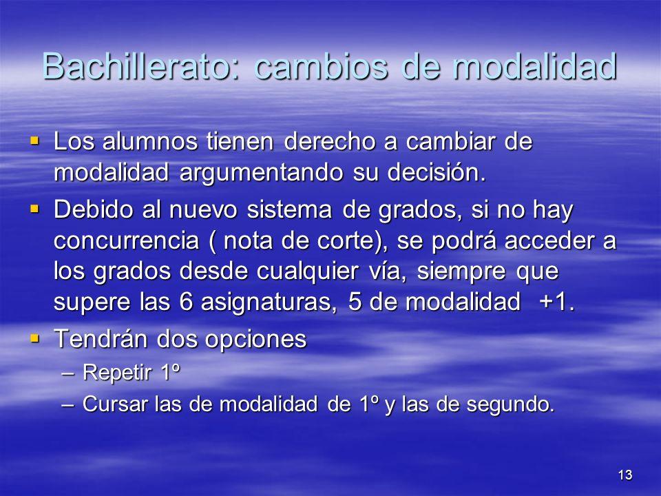 13 Bachillerato: cambios de modalidad Los alumnos tienen derecho a cambiar de modalidad argumentando su decisión.