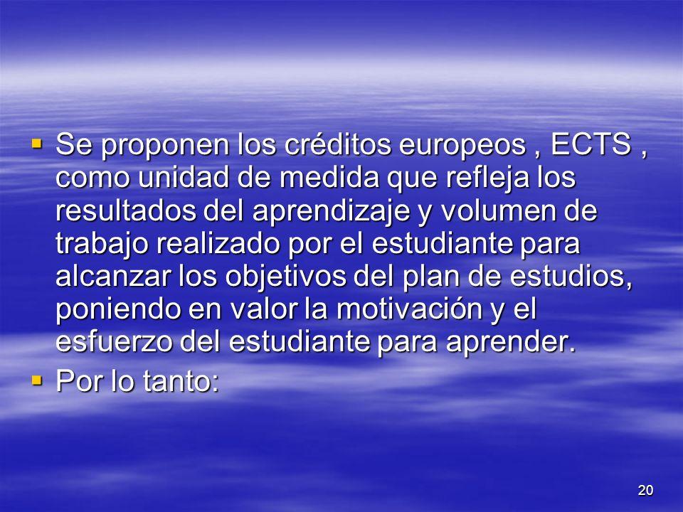 20 Se proponen los créditos europeos, ECTS, como unidad de medida que refleja los resultados del aprendizaje y volumen de trabajo realizado por el estudiante para alcanzar los objetivos del plan de estudios, poniendo en valor la motivación y el esfuerzo del estudiante para aprender.