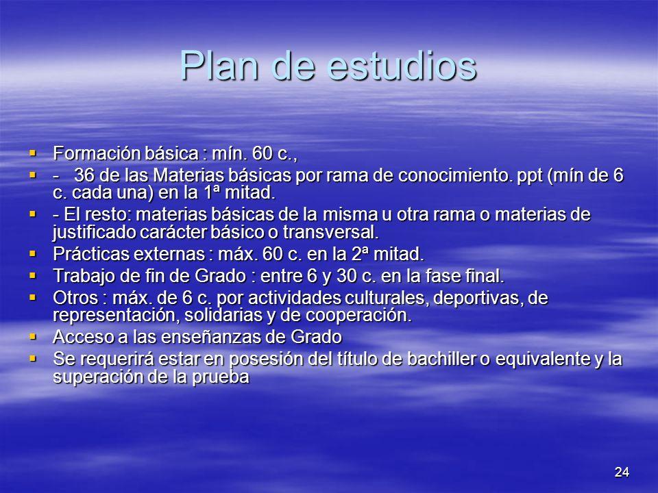 24 Plan de estudios Formación básica : mín. 60 c., Formación básica : mín.