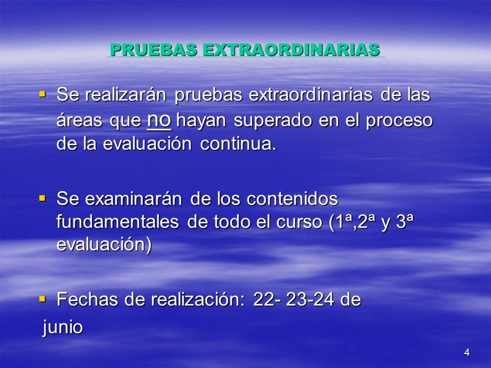 4 PRUEBAS EXTRAORDINARIAS Se realizarán pruebas extraordinarias de las áreas que no hayan superado en el proceso de la evaluación continua.