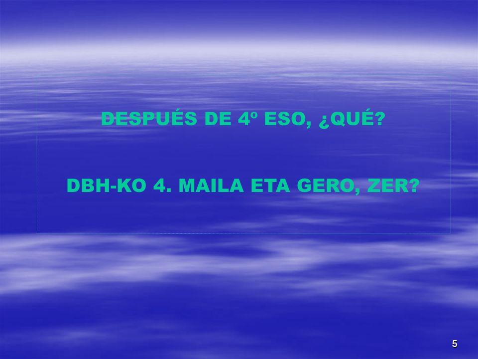 5 DESPUÉS DE 4º ESO, ¿QUÉ DBH-KO 4. MAILA ETA GERO, ZER
