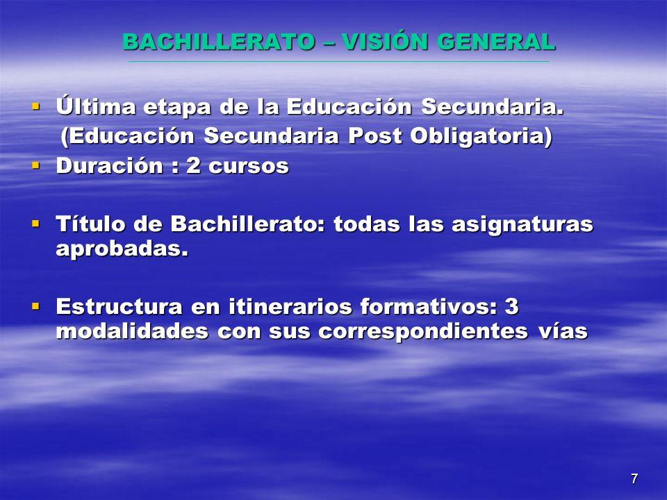 7 BACHILLERATO – VISIÓN GENERAL Última etapa de la Educación Secundaria.