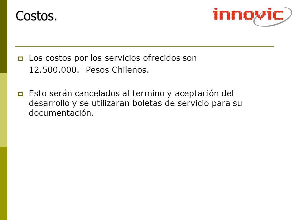 Los costos por los servicios ofrecidos son 12.500.000.- Pesos Chilenos. Esto serán cancelados al termino y aceptación del desarrollo y se utilizaran b