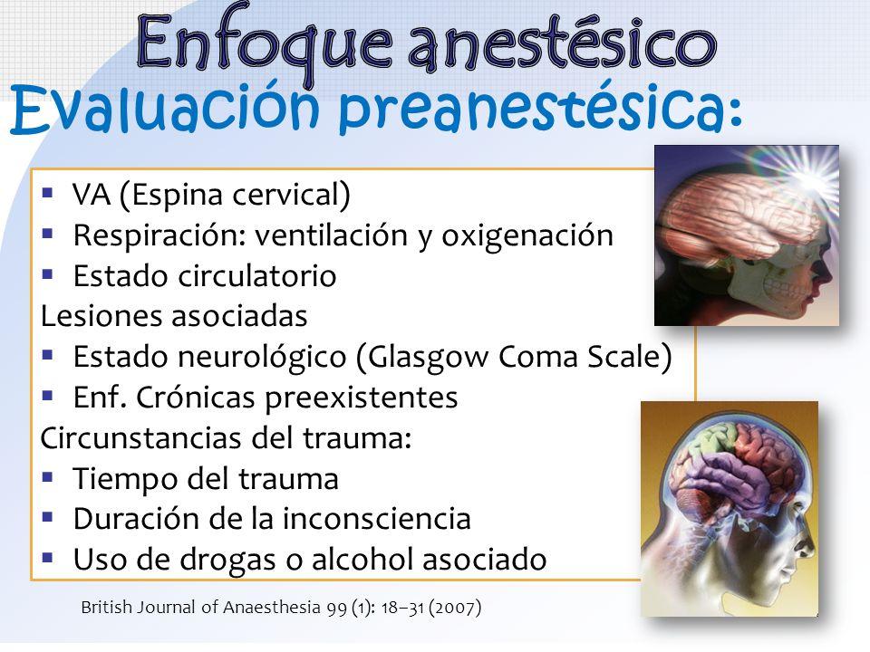 VA (Espina cervical) Respiración: ventilación y oxigenación Estado circulatorio Lesiones asociadas Estado neurológico (Glasgow Coma Scale) Enf. Crónic