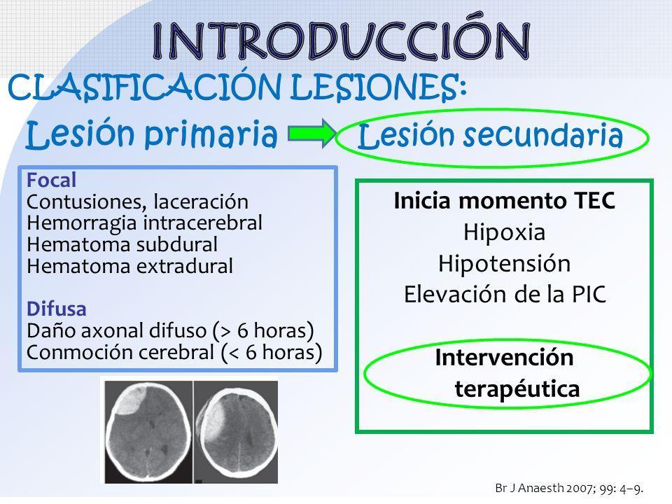 CLASIFICACIÓN LESIONES: Lesión primaria Lesión secundaria Inicia momento TEC Hipoxia Hipotensión Elevación de la PIC Intervención terapéutica Br J Ana