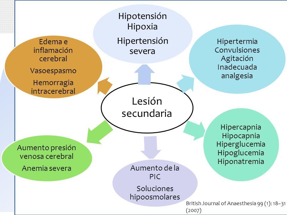 Introducción Lesión secundaria Hipotensión Hipoxia Hipertensión severa Hipertermia Convulsiones Agitación Inadecuada analgesia Hipercapnia Hipocapnia