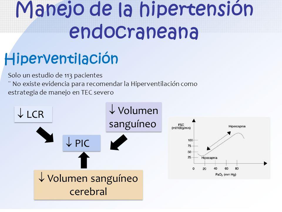 Manejo de la hipertensión endocraneana Hiperventilación Solo un estudio de 113 pacientes ¨ No existe evidencia para recomendar la Hiperventilación com
