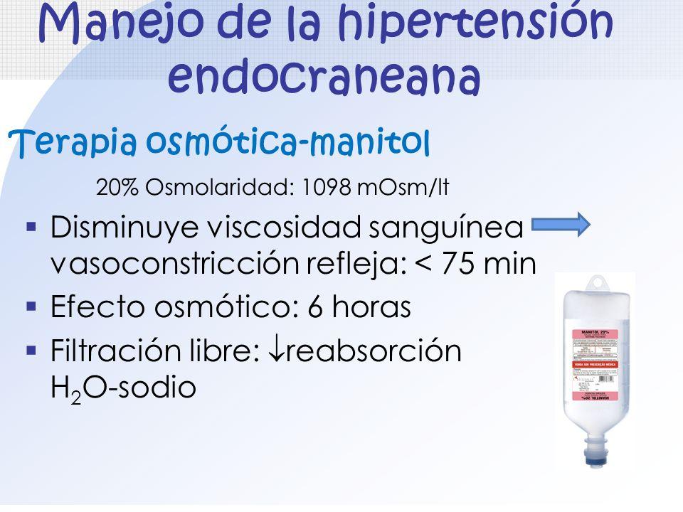 Manejo de la hipertensión endocraneana Terapia osmótica-manitol Disminuye viscosidad sanguínea vasoconstricción refleja: < 75 min Efecto osmótico: 6 h