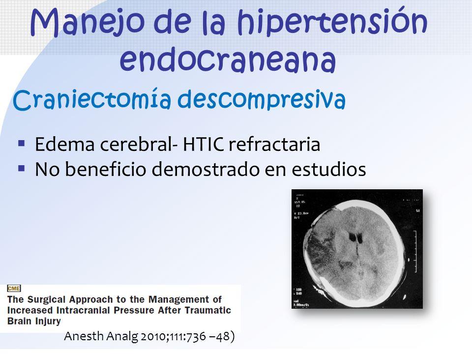 Edema cerebral- HTIC refractaria No beneficio demostrado en estudios Manejo de la hipertensión endocraneana Craniectomía descompresiva Anesth Analg 20